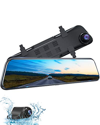 Kingslim DL12 Pro 12' 4K Mirror Dash Cam, 2.5K/2.5K Front and Rear Dash Camera for Cars with Dual Sony Sensor, Super Night Vision, GPS Tracking, Waterproof Backup Camera and Parking Assistant