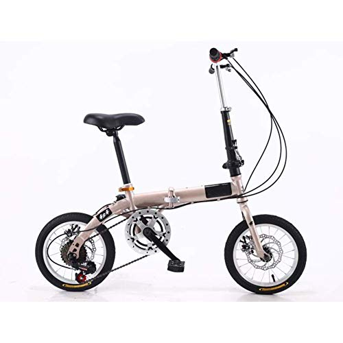 Chenbz Outdoor sports Folding BikeLightweight Aluminum Frame 14' Folding Bike with Double Disc Brake And Fenders (Color : Gold)