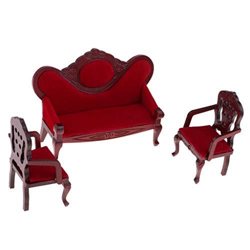 Amagogo Muebles Miniatura del Dormitorio de La Casa de Muñecas, Sofá Largo del Sofá Individual / Doble de Madera Rojo