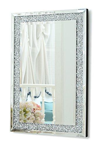 RICHTOP Wandspiegel groß Rechteck Rahmenlos Design, Schwarz Holz Backing, Silber Wand Schminkspiegel mit Glitzer Diamanten, Makeup Spiegel Wandmontage für Wohnzimmer, Flur, 60x90cm