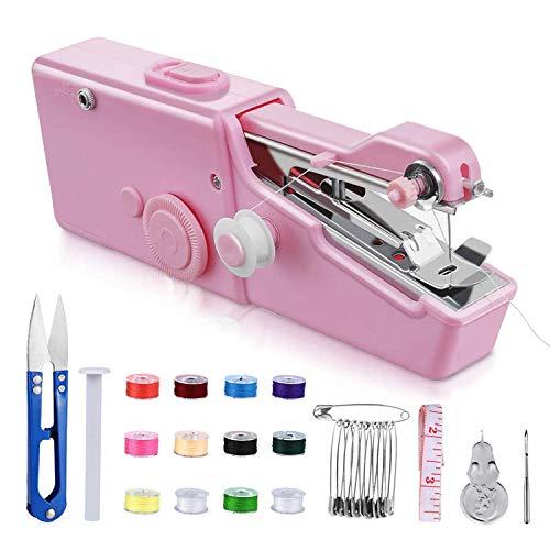Máquina de coser portátil, mini máquina de coser, mini máquina de coser portátil herramienta eléctrica para el hogar, para tela, manualidades, uso en el hogar (batería no incluida) (rosa)