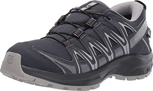Salomon Kids' Xa Pro 3D CSWP Nocturne J Trail Running Shoes, Ebony/Alloy/Quiet Shade, 5
