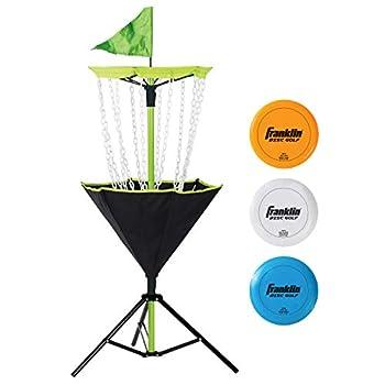 Franklin Sports Disc Golf Set – Disc Golf – Includes Disc Golf Basket Three Golf Discs