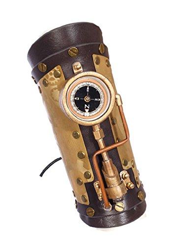 RQ-BL Brassard Steampunk en Cuir Noir et métal à Motif d'engrenages, avec Boussole et LED
