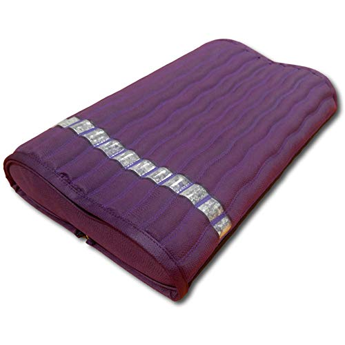 "Ereada Far Infrared Amethyst Mat Pillow - High End Negative Ion and FIR Pillow - Jewelry Grade Natural Amethyst Gems - Memory Foam - Luxury Suede (2-in-1 Pillow 19' L x 12' W x 3.5""H, Purple)"
