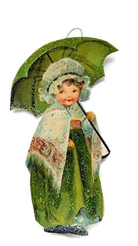 St Patrick's Day Ornament Decoration Irish Lassie with her Umbrella Handmade Gift