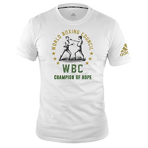 adidas, Maglietta da Boxe da Uomo e Donna, Top Palestra Allenamento Fitness WBC Tee, Maglietta da Boxe, da Uomo e da Donna, con Scritta in Lingua Inglese, ADIWBCT01, Bianco, XL