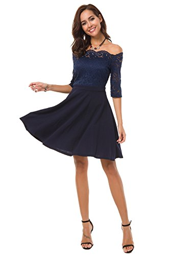 Atnlewhi Womens Vintage Lace Off Shoulder Puffy Swing Dresses Sexy Mini Dress for Party Cocktail,Swing-Blue,L
