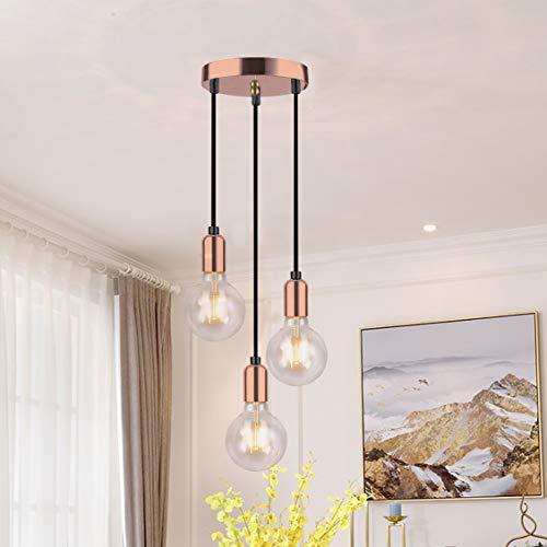 3 Pendelleuchte, Hängelampe 3-flammig, 3 x E27 max. 60 Watt, höhenverstellbare Hängeleuchte, Retro E27 Edison Lampenfassung, abgehängte Pendelleuchte Leuchte-Rose Kupfer