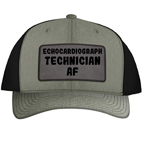 Echocardiograph Technician AF - Leather Grey Patch Engraved Trucker Hat, Heather-Black, One Size