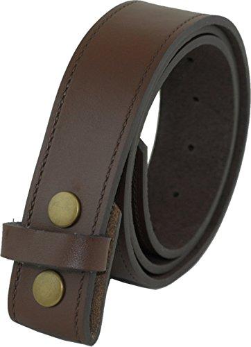 Echtes Leder 40mm Druckknopf Gürtel Ohne Schnalle - Braun 102cm - 112cm