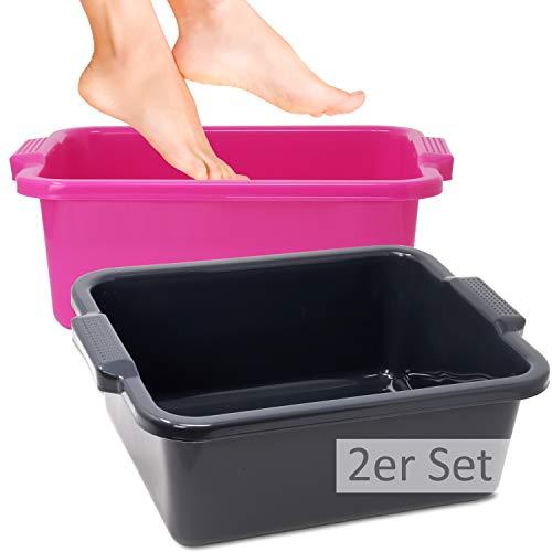 Hausfelder VIELZWECK Wanne aus Kunststoff, einsetzbar als Fussbad Waschbecken Spülschüssel (2er Set (1 x Pink, 1 x Anthrazit))
