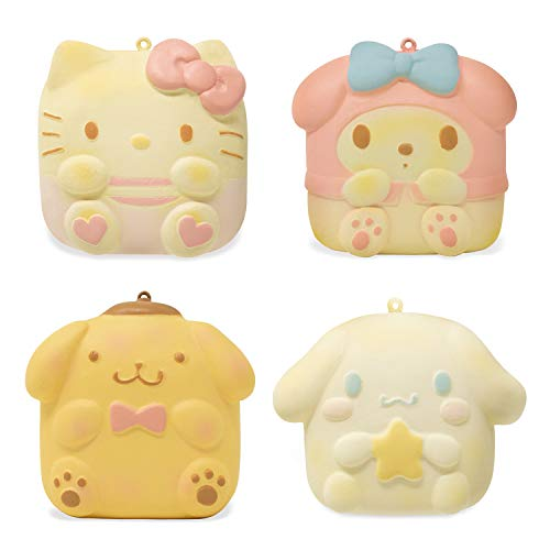 Sanrio Hello Kitty & Friends Sweet Roll Slow Rising Squishy Toy (4 Piece Set, Hello Kitty & My Melody & Pompompurin & Cinnamoroll) Birthday Gifts, Party Favors, Stress Balls for Kids, Girls, Boys