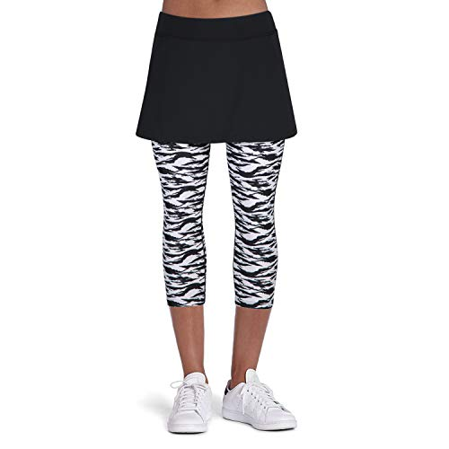 ANIVIVO Tennis Skirted Leggings Women with Pockets Capris Skorts Leggings with Skirts& Women Tennis Tight Pants Sports Skirted Pants Tennis Clothing(Zebra-Leggings,2XL)