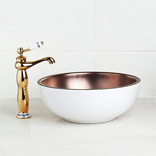 WHFDRHSLT Kraan Wit Art Keramisch Vaartuig Badkamerwastafel Set Gouden Gepolijst Theepot Tuit Badkamer Kraan Ontwerp Goud in Basin Mixer Tap Kleur: wit