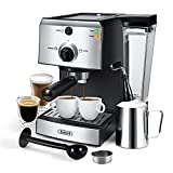 Gevi Espresso Machines 15 Bar Fast Heating with Milk Frother 1350W High Performance Coffee Machine for Espresso, Cappuccino, Latte, Mocha, 1.25L Removable Water Tank