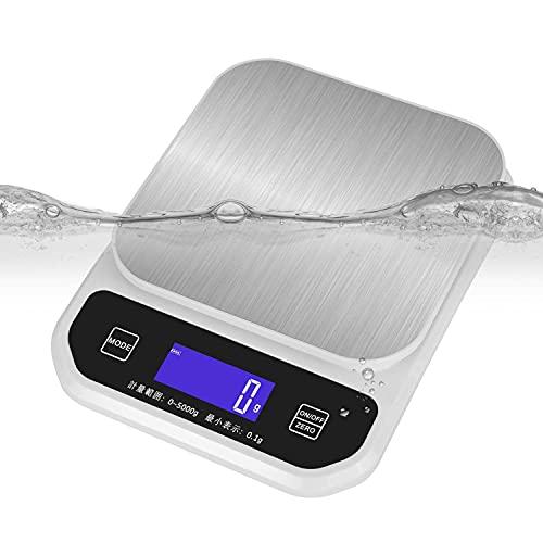 IP67防水 キッチンスケール 丸洗い可能 電子はかり 0.1g 高精度センサー 5000g (オフホワイト)