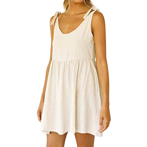 Elegante Kleider Damen Kleid Cocktailkleider Ronamick Frauen im Sommer Sexy Baumwolle Leinen schnüren ärmellos solide lässig Kurze Mini-Kleid(S, Beige)