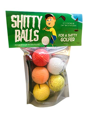 Shitty Balls for a Shitty Golfer - Funny Novelty Golf Balls for Golfers - Randomly Chosen, Guaranteed NOT to Improve Golf Game, Includes 5 Golf Balls