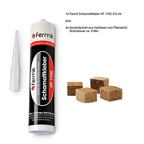 Schamottkleber beige Temperaturbeständigkeit: über +1100°C 310 ml und 4x Anzündwürfel aus Holzfaser und Pflanzenöl Brenndauer ca. 8 Min.