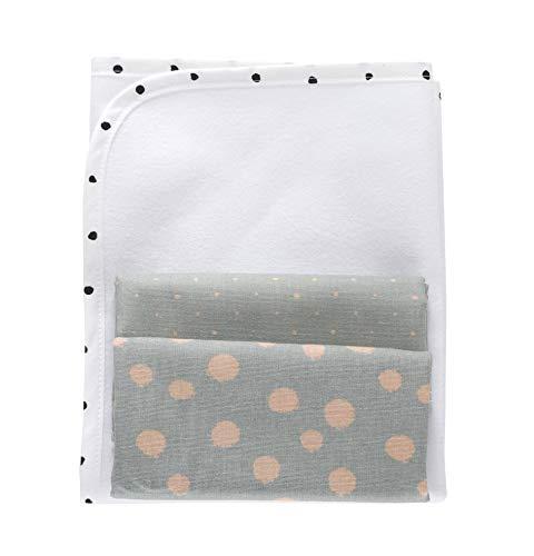 3-in-1 baby wikkelonderlegger + 2 molton onderleggers - 100% katoen, waterdicht, luchtdoorlatend, 49x60 cm, abrikoos