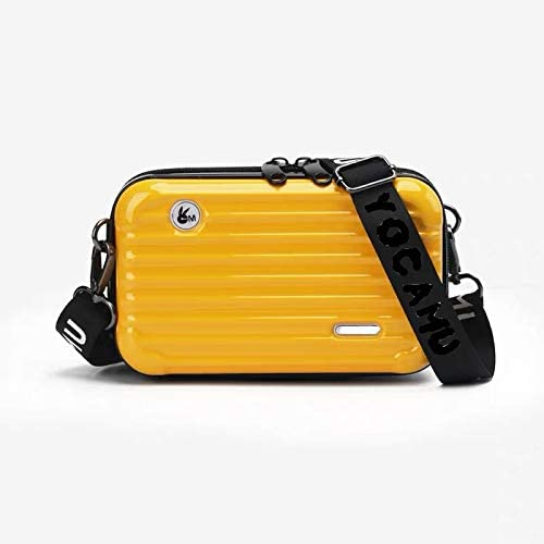 New Fashion Polycarbonate Mini Crossbody Messenger Multi Function Cosmetic Bag Yellow Set of 2