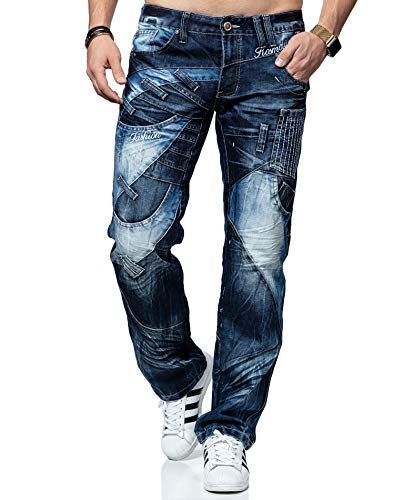Kosmo Lupo Jeans KM130 Regular Fit Washed Style Club Wear (W32/L32)