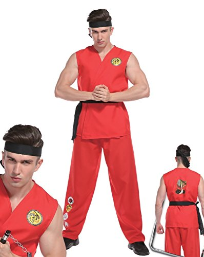 Rubber Johnnies Adulto Hombres Street Fighter Disfraz Ken Karate Kid Ryu Luchador Disfraz Ninja Lee