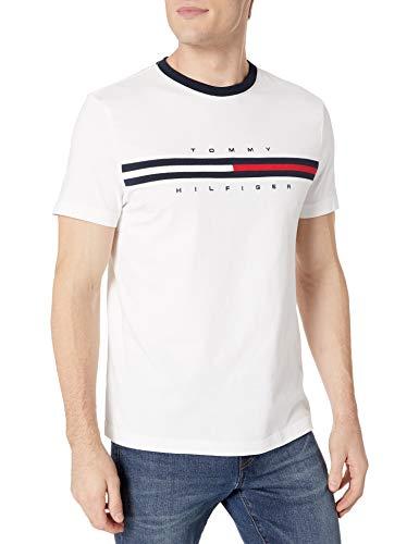 Tommy Hilfiger Men's Short Sleeve Crewneck Logo T Shirt, Bright White, SM