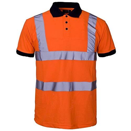 YCC® Sicherheits-T-Shirt mit hoher Sichtbarkeit, zweifarbig, Arbeitsshirt, hohe Sichtbarkeit, reflektierendes Band, Arbeitskleidung, kurzärmelig, Größe L, Hi Viz Sicherheits-Polo-Shirt, Orange