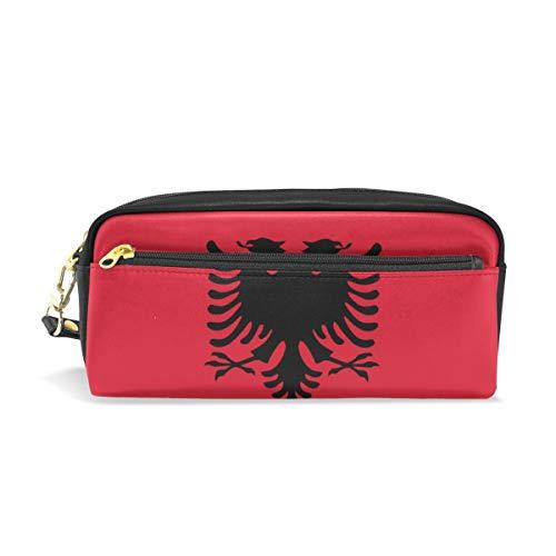 Federmäppchen mit Albanien-Flagge, PU-Leder