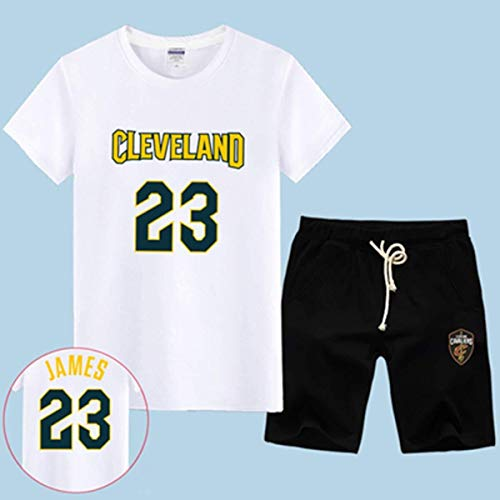 LLSDLS T-Shirt NBA Fan Trikot Set Cleveland Cavaliers Retired Commemorative Kurzarm Herren Sweatshirt James # 23 Basketball Halbarm Sport Set Blau-3-XXXXXL T-Shirt (Color : White-3, Size : Large)