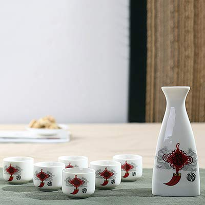 Rocco Bar Sets - pcs/Lot keramische Sake Pot Cups Set Flaon Liquor Whisky Cup drinkwaren Japanse wijnsets Dining bar Home Kitchen Tableware - by 1 PC Chinese knot