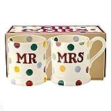 Emma Bridgewater Tasse mit Aufschrift 'Mr & Mrs', gepunktet, 2 Stück, 236,5 ml, verpackt