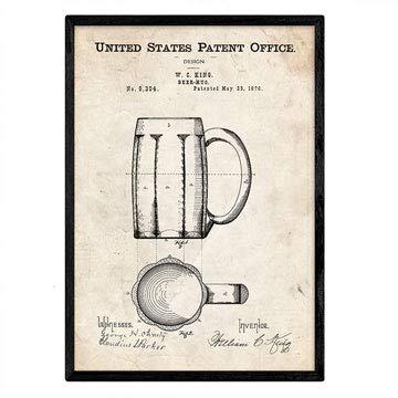 Nacnic Poster con patente de Jarra de cerveza. Lámina con diseño de patente antigua en tamaño A3 y con fondo vintage