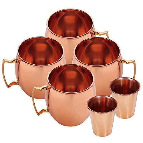 Zap Impex pure koperen mule-mok van koper, ideaal voor het entertainment van gekoelde dranken en bars of thuis. Geschenkset met 4 glazen en 2 borrelglaasjes