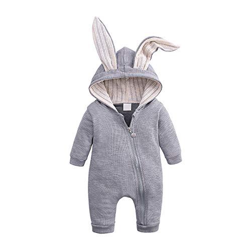Neugeborenes Baby Unisex Bodysuit Nettes Hasenohr Langarm Reißverschluss Strampler Herbst Winter Pyjama Outfit, Grau, 59 (0-3 Monate)
