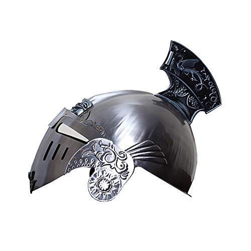Nvshiyk Disfraz Medieval Accesorios de Casco Armadura de Guerreros Metal Catico Medieval Casco con Escudo de Cara extrable Accesorio para Sombreros de Disfraces (Color : Silver, Size : 27x19x29cm)