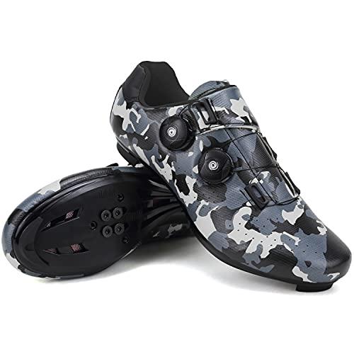 SwissWell Zapatillas de ciclismo para hombre, compatibles con SPD, para montar en carretera, con hebillas, color, talla 45 EU