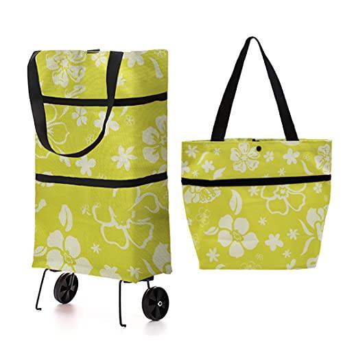 INHEMING Faltbarer Einkaufstrolley mit Rollen,2 in 3 Leichter Handwagen Einkaufswagen Tasche