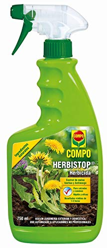 Compo Herbistop Control de Malas Hierbas y antimusgo, Ingredientes Naturales, Apto para jardinería Exterior doméstica, 750 ml