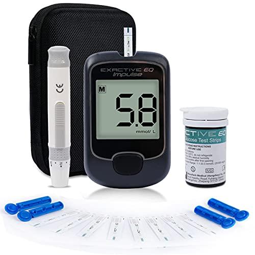 HARPIMER Medidor de Glucosa en Sangre, Glucosa en Sangre Kit, Diabetes Kit de Prueba de azúcar en Sangre Sin codificación con 25 Tiras de Prueba y Lancetas Exactive EQ