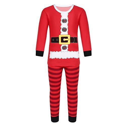 Freebily Pijama Navidad de Niños Disfraz Papa Noel para Fiesta Navidad Carnaval Tops Dibujo Pantalones Rayados Ropa de Dormir Larga Algodón Bebé Niña Rojo 100cm