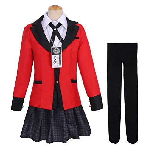 BST&BAO Japón Anime Kakegurui Disfraz de Cosplay, Kit de Uniformes Escolares Yumeko Jabami con Abrigo, Camisas, Faldas, Corbata, Collar y Medias