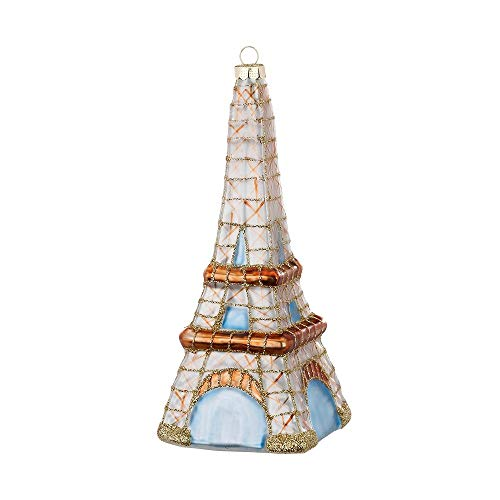 MAGIC Christmas Tree Decorations Christmas Baubles Figures Glass Mouth-Blown Christmas Baubles Tree Decoration Eiffel Tower Glass 14.5 cm