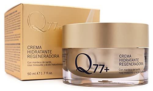 Q77+ Crema hidratante regeneradora facial | Con Ácido Hialurónico, Manteca