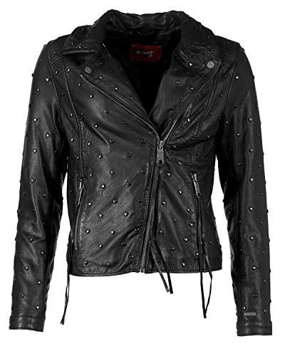 Maze Damen Stylische Biker-Lederjacke Heart Heart Black XS