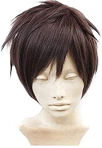Koswiggle Attack On Titan Eren Jaeger Wig Dark Brown Men's Short Layered High Temperature Fiber Cosplay Wigs + Wig Cap Synthetic