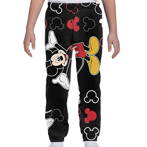 LCXjj Youth Sweatpants - Mickey-Mouse-Black-Background Soft and Sports Joggers Pants Trousers Sweatpants. Sizes Youth S-XL