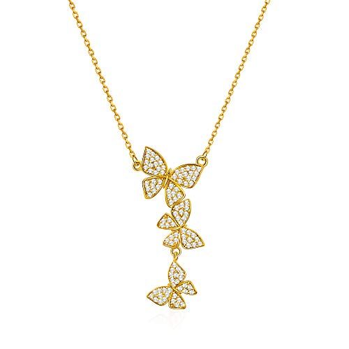 GELVTIC Necklace Chain for Women, Choker Pendant Necklace for Teen Girls, Dainty Necklace Jewelry Gift (65-Butterfly-Gold)